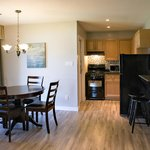 Apartment suite kitchen and dining area.  Entire suite fully renovated in 2014
