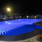 The Mistral main pool at night