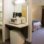 2nd floor Business Class queen room bathroom and Keurig coffee area