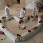 Enfeite feito pela camareira no dia do casamento