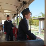 children working in the train