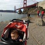 Walking by the Golden Gate Bridge