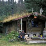 Michael McBride on the lodge sauna porch
