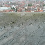 Edge of window sill shows distances (in kilometers) to towns near and far