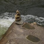 Kids built a cairn right below our deck on river.