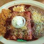 Chicken enchiladas with onion!