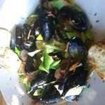 Fresh mussels with leaks and bangers ...crunchy crouton..awesome butter sauce.