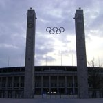 the Olympic Rings in Front of the Stadium