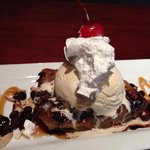 Chocolate Chip Bread Pudding topped with ice cream