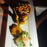 Chicken Satay Shrimp cake Papaya salad & Vietnamese Spring Roll with