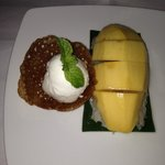 Mango and Sticky rice served with coconut ice cream