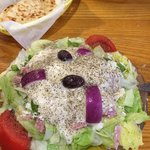 Greek salad was wonderful. Homemade dressing. Great great stuff here!