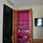 Aquamarina room one of two closets in twin bedroom
