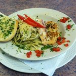 Chicken Breast over Pesto Pasta
