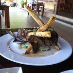 steak on sugar cane. very tasty