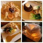 (clockwise) Carbonara Fettucine/Filet/Roasted Chicken/Cotton Candy