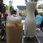 Iced coffee and banana milkshake