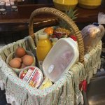 The beautiful hamper that you receive upon arrival