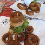 Two Veggie Black Bean Burgers with Onion Rings