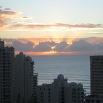Sunrise over the water Surfers Paradise Beach
