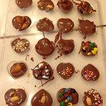 individual custom chocolates in a mold