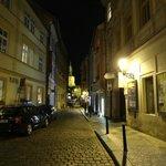 street Karoliny Svetle with hotel.-Prague centrum