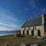 church and lake