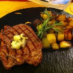 A delicious choice, steak with aromatic lard