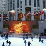 Lower Plaza of Rockefeller Center with ice-skating rink