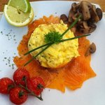 Smoked salmon and scrambled egg with chives and cream - amazing