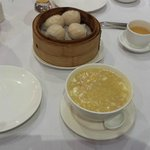 Prawn dumplings were bland, crabmeat and corn was bland and overstarched