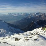 At the very top looking South into France. Ski/hiking trails start here and go down towards Cham