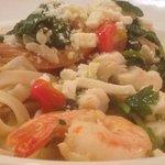 shrimp and crab scampi over fettucinie