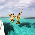 Jumping off the Bay Islands Adventure Boat at Pigeon Cay