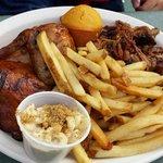 BBQ Chicken, pork and fries