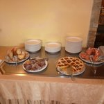 Many cakes at breakfast buffet