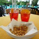 Campari Soda and snack at the Pool Bar