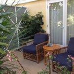 The semi private patios