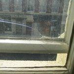 Broken, unwashed window