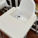 All baby chairs sanitized and covered with cling film