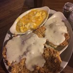 Chicken fried steak. Does not come with Mac and cheese.