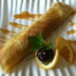 Cherry crepe dessert