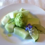 Honeydew with basil granita