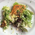 Smoked mackerel salad with horseradish dressing.