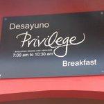 area del desayunador privilege