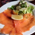 Fresh smoked salmon . Only downside was no creme fraiche or capers .