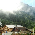 Mont Blanc Mountains and Hotel L'Heliopic