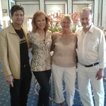 In the lobby with my husband Joseph, left, me , and my cousins Birgit and Stig, right