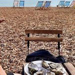 Nice view of the sea with fabulous fresh Jersey oysters.