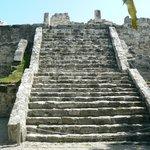 mayan ruin in garden